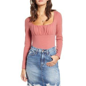 All in Favor Mauve Pink Bodysuit NWT